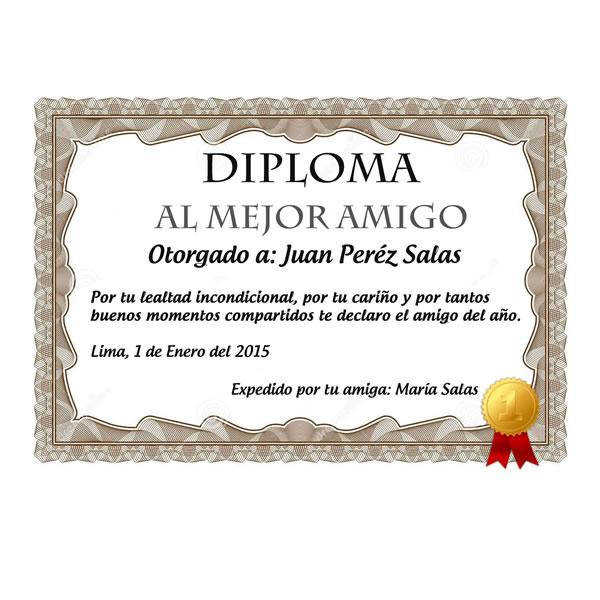 Detalles Con Amor Diploma Al Mejor Amigo 006 Rosas Naturales