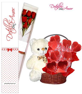 Detalles con amor combo dulce corazon rosas naturales - Sorpresas para enamorados ...